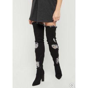 Black Destroyed Denim Thigh High Boots 7.5